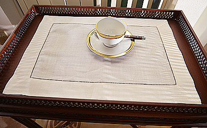 Hemstitch Placemats White And Ecru Color