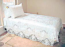 battenburg lace bed coverlet and dust ruffles, cotton coverlet, cotton ruffles, lace bed covers, lace dust ruffles.